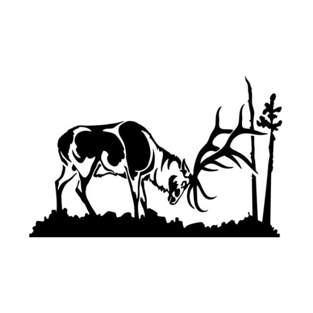 Elk Raking Tree Decal